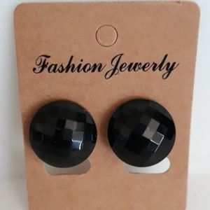 Black Faceted Button Clip-on Earrings 1.5 cm